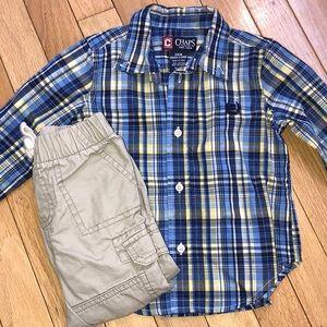 Other - toddler boy button-down+khaki joggers, sz. 18-24M